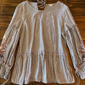 Caslon embroidered blue and white stripe top
